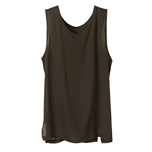 Fenverk Leinenhemd Herren Henley Regular Fit Hemd Sommerhemd Freizeithemden Aus Leinen Und Baumwolle(Kaffee I,L) -