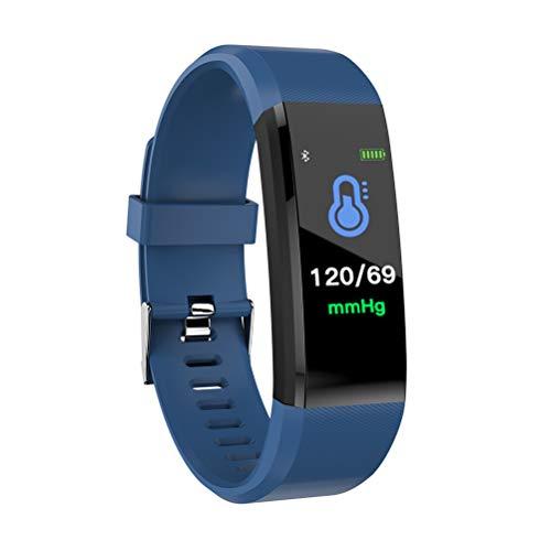 Hswt Fitness-Tracker Smartes Armband Intelligente Uhr Überwachung Der Herzfrequenz 0,96 Farbbildschirm IP67 Wasserdicht Ios Android Aktivitäts-Tracker,Blue