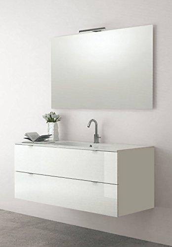 Yellowshop - mobile mobiletto sospeso da bagno in legno cm 120 completo di lavabo in mineralmarmo e specchiera led arredo moderno modello andrè varie colorazioni (bianco laccato lucido)