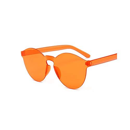 Sportbrillen, Angeln Golfbrille,Fashion New Round Sunglasses Women Vintage Metal Frame Pink Yellow Lens Colorful Shade Sun Glasses Female UV400 Orange