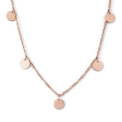 Heideman Halskette Damen Kreise aus Edelstahl Silber Gold oder Rosegold Farben poliert Kette für modische Frauen mit Anhänger rund Längen einstellbar rosévergoldet hk25447-8