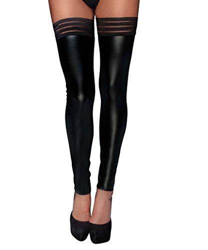 Damen Dessous wetlook fetisch Stockings mit elastischen Bändern und Silikon Streifen in schwarz XXL