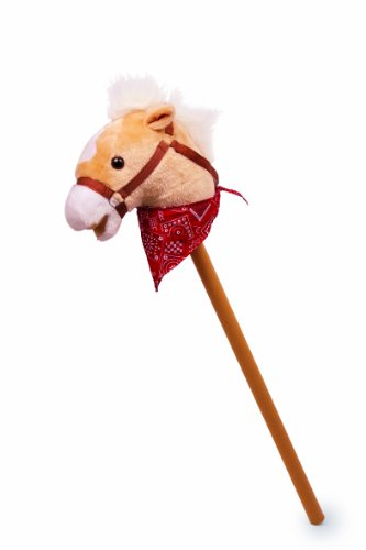 """Klassisches Steckenpferd """"Rocky"""" mit weichem Textilkopf und hölzernem Stecken, für kleine Pferdeliebhaber ab 3 Jahren"""