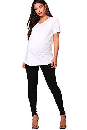 Femmes Noir Maternité Jenny Legging côtelé couvrant le ventre Noir