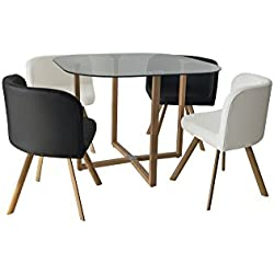 Mobilier Deco Ensemble Table + 4 chaises encastrable Noir et Blanc