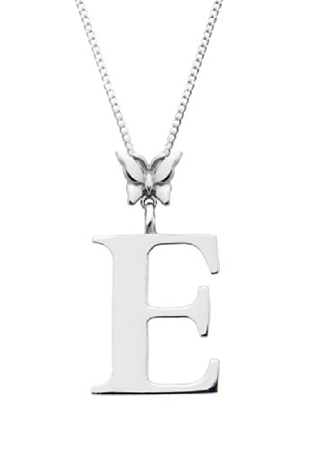 "Silver Initial E Butterfly Pendant with 16"" Chain, used for sale  Delivered anywhere in UK"