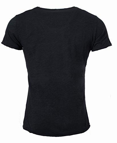 Key Largo Herren vintage Look T-Shirt mit Brusttasche tiefer V-Ausschnitt v-neck slimfit tailliert einfarbig uni T00780 Dunkelgrau