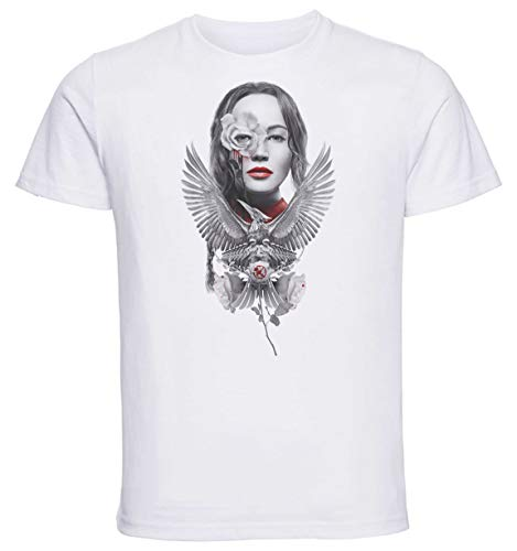 Instabuy T-Shirt Unisex - White Shirt - Jennifer Lawrence - Hunger Games - Mockingjay Size Large