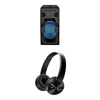 Sony MHC-V11 leistungsstarkes One Box Soundsystem (470 Watt Ausgangsleistung, Mega Bass, FM-Radio, CD, USB, Bluetooth, NFC) schwarz + MDRZX330BT Kopfhörer mit Bluetooth und NFC, schwarz