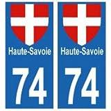 autocollants plaques immatriculation département 74 haute-savoie blason