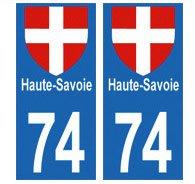 autocollants 74 Haute-Savoie Moto plaque immatriculation département auto 74 Haute-Savoie : angles droit - format moto