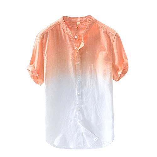 Fu-camo-t-shirt (Luckycat Hemd Kurzarm Herren Farbverlauf Kurze Ärmel Leinenhemd Hemden Henley Freizeithemd Kurzarm Regular Fit Kragenloses Shirt Men Casual Langarm-Leinen Shirts Strand-Hemden)