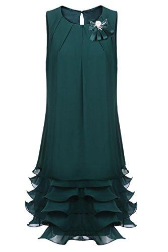 ZEARO Mode Sexy Mini Dress Multi Layered Sans Manche Robe Jupe Portefeuille Mince A-ligne Pour Cocktail / Soirée Noir
