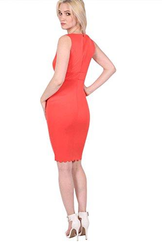 PILOT® jemima bord du pétoncle Wrap Dress col v moulante Corail