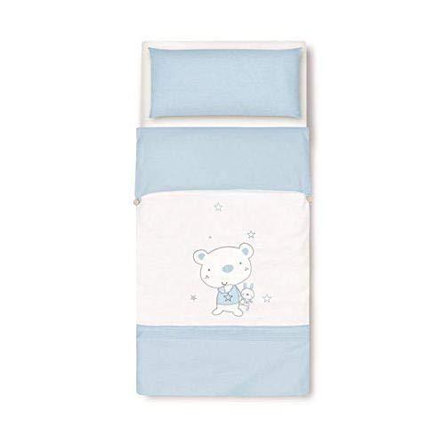 pirulos 33013013 - Sac couette Motif ours Star, coton, 62 x 125 cm, couleur blanc et bleu