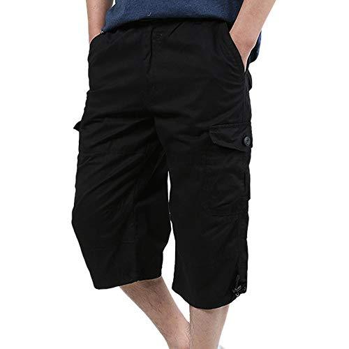 ner Baggy Multi Pocket Zipper Cargo-Shorts Reithose Männlich Lange Armee Grün Khaki Männer Werkzeug Arbeit Kurze Bermuda Große Größe 5XL (Schwarz, XL) ()