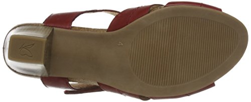 Caprice 28309, Sandales Bout Ouvert Femme Rouge (Red Nappa)