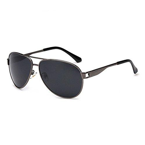hongfei Sonnenbrille für Männer Frauen Aviator polarisierte Metall Spiegel UV Objektiv Schutz für Outdoor Sport Strand Reisen (Gray)