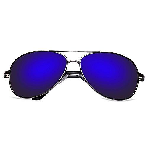 Zheino 5904 Full Mirror Sun Glasses Unisex Polarizzato Pilota AVIATOR anabbagliante Occhiali Guidare Occhiali guida sportiva Eyewear Dark Blue