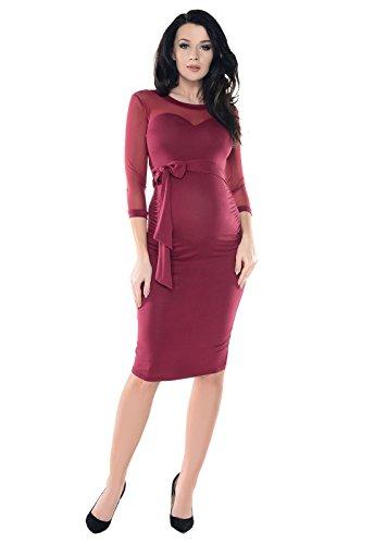 Purpless Maternity Vestido de Embarazo de Encaje Bodycon D008 (36, Bur