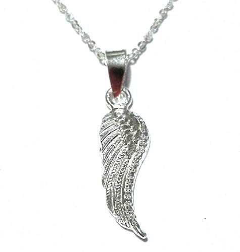 Alylosilver Collar Colgante ala de Angel de Plata para Mujer - Incluye una Cadena de Plata de 45 Centimetros y un Estuche para Regalo