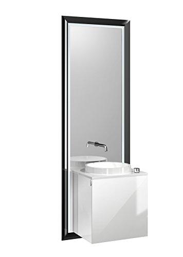 Emco Türgriff (emco touch pure Waschplatz 45 cm Rahmen Schwarz, Front Optiwhite, Griff links)