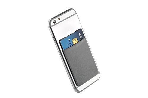 Cerbery® | Smartphone Kartenhalter | Auto Etui Fingerhalter Fitness Folie Halter Halterung Handy Hülle Kartenhülle Kopfhörer Sport | Kompatibel mit Apple iPhone 7 8 X Samsung Galaxy (Grau)