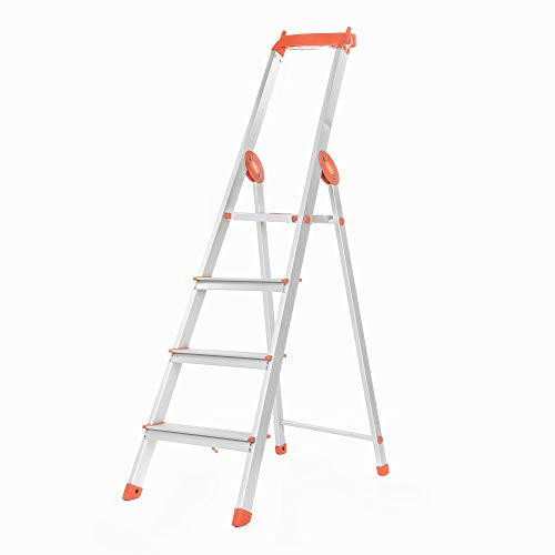 Bathla Elevate 4-Step Foldable Aluminium Ladder with Tool Tray (Orange)
