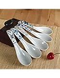 Set di cucchiai da minestra ceramica Debon fiore dipinto a mano smalto di porcellana cinese giapponese asiatico cucchiai di riso aperitivi, cucchiai da tavola pasto partner di alimenti non tossico