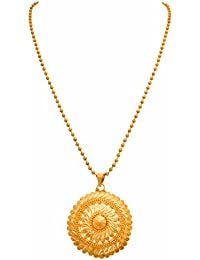 JFL - Traditional Ethnic One Gram Gold Plated Designer Pendant With Gold Beaded Chain For Women & Girls
