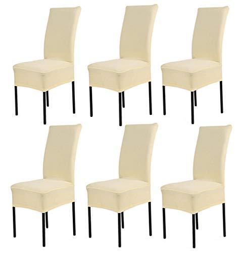 Hmwish 6 pezzi coprisedia con schienale, moderne universale coprisedie elasticizzato cucina salotto coprisedie sala da pranzo beige