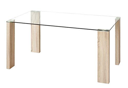 Homely - Mesa de comedor ROSSET con patas metal color madera