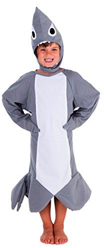 Hai Kostüm Kinder - Fisch Kostüm für Kinder für Jungen und Mädchen - Kostüm Fisch Kind - Shark Kostüm (122/128)