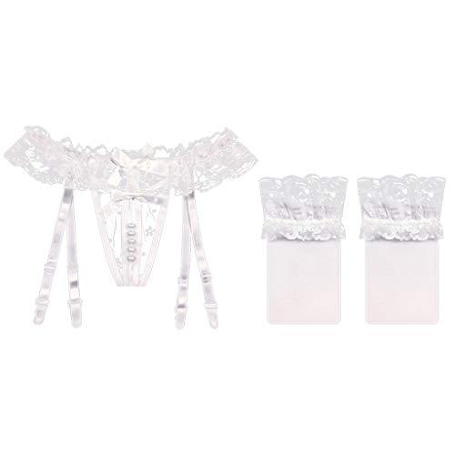 IPOTCH Damen Slips Ketten Panty Perlen Massage String Tanga Shorts Höschen Slip Hose mit Strapsgürtel und Strumpfhose - Weiß + Seidenstrümpfe, Einheitsgröße - 2