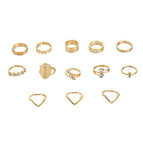Lookhy Ringe,Kreative Englische Einfache Muster Joint Ring Leaf Set Von 13 Ring Schmuck Knöchelringe Für Frauen Mädchen Mit