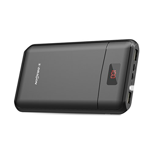 Externer Akku X-DRAGON Extra Kompakt 13000mAh PowerBank Handy Ladegerät (Dual 2A Eingang, Dual 2.4A Ausgang, Digi-Power Display und Bright LED) für iPhone iPad, HTC, Huawei, Smartphone und Tablet
