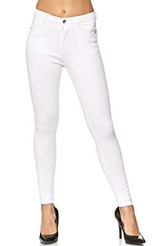 Elara Damen Stretch Hose   High Waist Jeans   hoher Bund   Slim Fit   Chunkyrayan M001-7 White 38