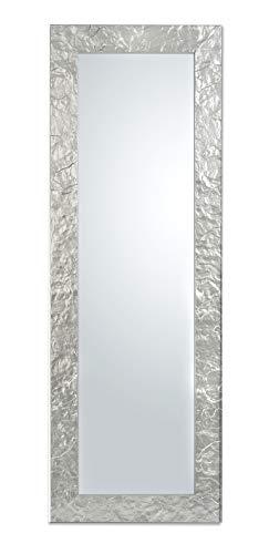 specchio da parete argento cornice legno misura esterna cm. 50x145 posizionabile sia in verticale che in orizzontale. made in italy.
