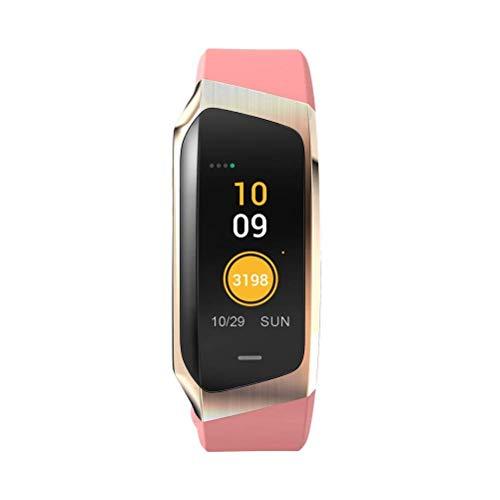 Lizes Fitness-Tracker mit Herzfrequenzmesser, Bluetooth, wasserdicht, Smart-Armband mit Schlaf-Monitor, Rosa