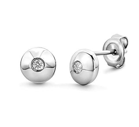 Miore 925 Sterling Silver Diamond Stud Earrings
