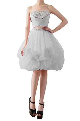 Promgirl House Damen Prinzessin Traegerlos Ballkleider Abendkleider Kurz Cocktailkleider Knielang Silber