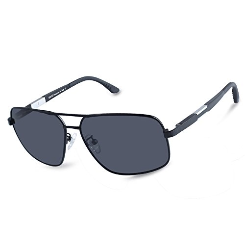 Duco Premium Sonnenbrille Retro Square Rechteckige Gestell Polarisierte Gläser 100% UV-Schutz 3379 (Schwarz, Grau)
