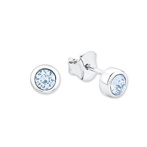 Amor Damen-Ohrstecker 6 mm 925 Silber rhodiniert veredelt mit Swarovski Kristallen aquamarine - Runde Ohrstecker Aquamarin