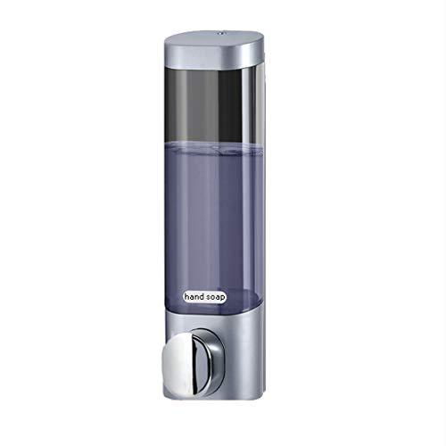Dispensador de jabón montado en la Pared Baño del Hotel Inodoro Champú de Cabeza Doble Botella de Gel de Ducha Desinfectante de Manos Botella, Perforación Gratuita (Color : Silver, tamaño : Single)