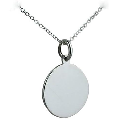 Semplice ciondolo, rotondo, diametro 17 mm, in argento con catena Rolo
