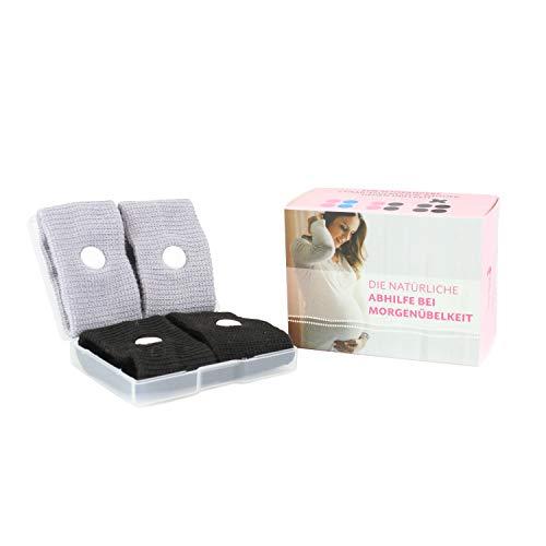 Cozy Racoon Akupressur Armband gegen Übelkeit in der Schwangerschaft I Effektiv und ohne Nebenwirkungen I Praktische Transportbox I 4 Stück (2x Schwarz, 2x Grau) -