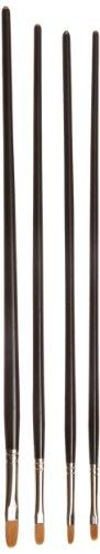 Sax Golden Taklon Filbert Artist Brushes - Filbert Sizes 2, 4, 6, 10 - Set of 4 - Black (Filbert 6)