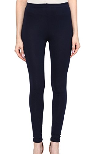 Colors Couture Navy Blue Ankle Length Straight Fit Cotton Leggings for women