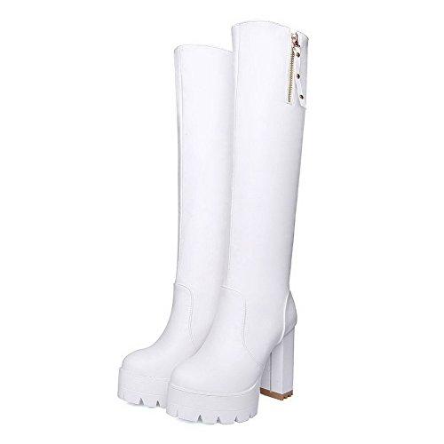 AllhqFashion Damen Schließen Zehe Rein Hoch-Spitze Hoher Absatz Stiefel Weiß