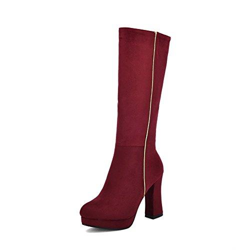 VogueZone009 Donna Alta Altezza Puro Cerniera Tacco Alto Stivali con Metallo, Rosso, 34